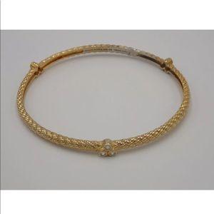 JUDITH RIPKA 925 Gold Clad Bangle CZ Bracelet Flaw